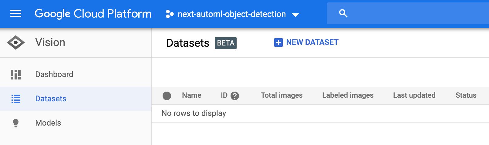 Selecciona Crear conjunto de datos nuevo