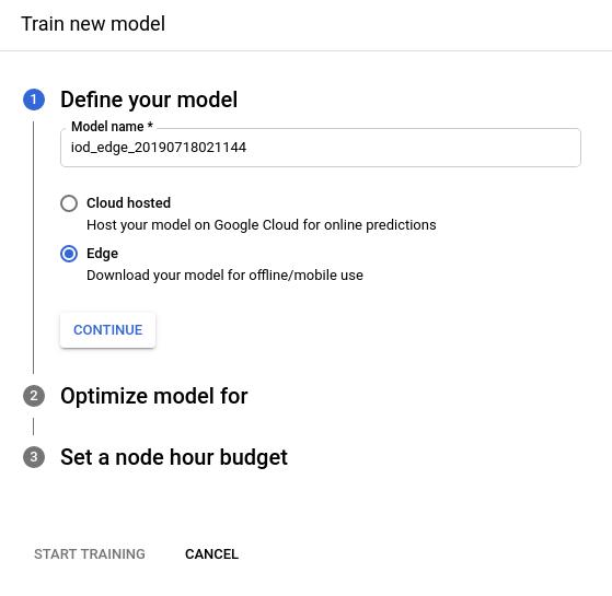 Imagen del botón de selección para entrenar el modelo de Edge