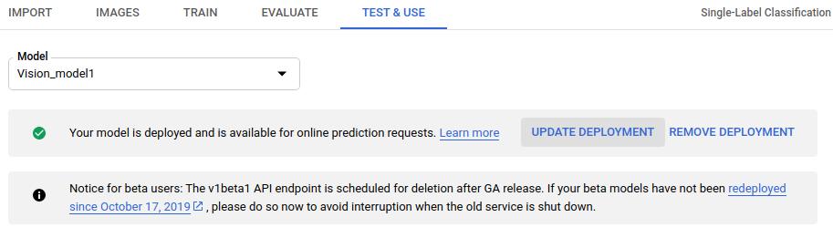 Imagen del botón para actualizar la implementación