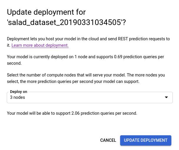 Ventana de actualización de la implementación después de seleccionar una cantidad nueva de nodos