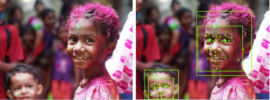 アノテーションありとなしの 2 つの顔を含む画像