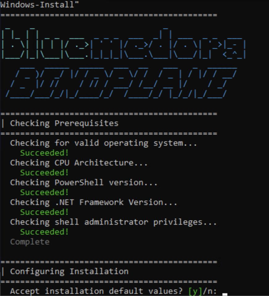 La línea de comandos muestra un mensaje de configuración de instalación durante la instalación del colector de BindPlane.