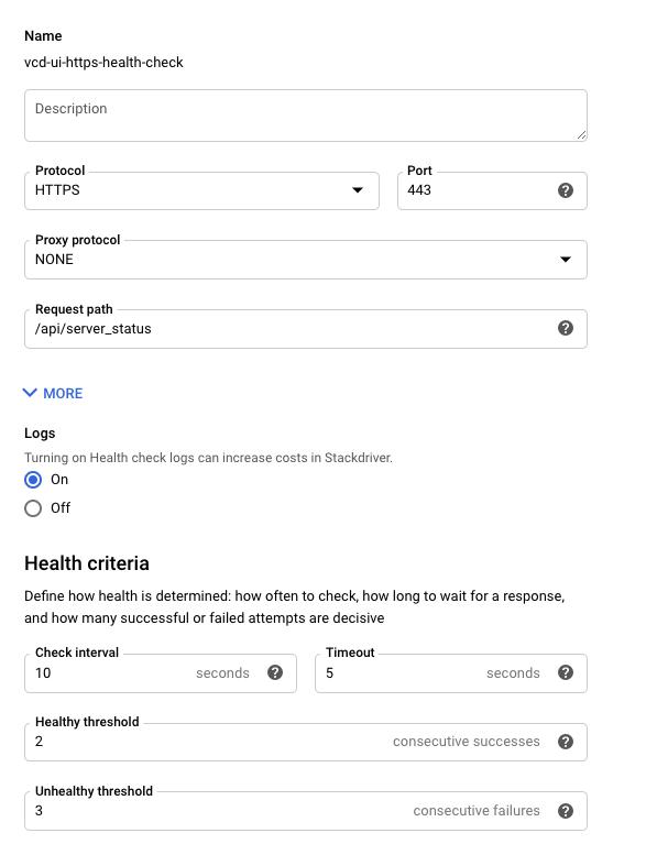 健康检查配置在端口 443 上使用 HTTPS 协议。