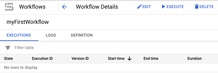Workflow details page
